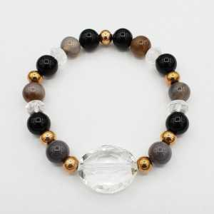Armband van grijze Agaat Bergkristal en Onyx