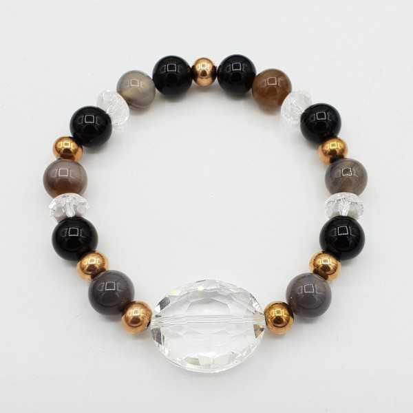 Armband aus grauen Achat-Bergkristall und Onyx