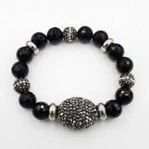 Armband schwarzer Onyx und Kristalle