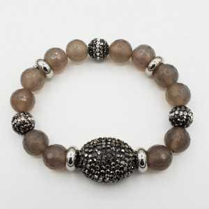 Armband van grijze Agaat en kristallen