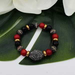 Armband van zwarte Onyx Koraal en kristallen