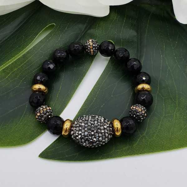 Armband van zwarte Onyx en kristallen