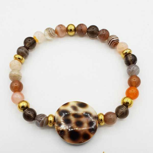 Bracelet Botswana Agate and cowrie shell
