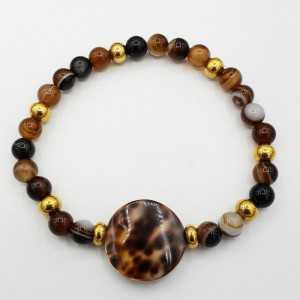 Armband mit Kauri Muschel und Botswana-Achat