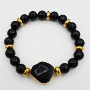 Armband aus schwarzen Onyx-und Achat-geode