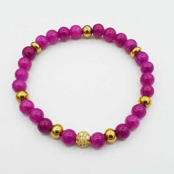 Bracelet of fuchsia pink Jade