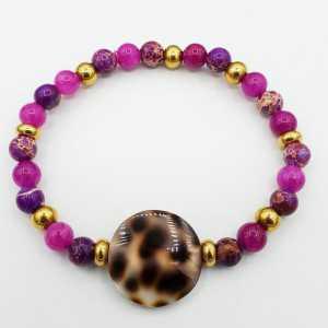 Armband van fuchsia roze Jade en Sediment Jaspis
