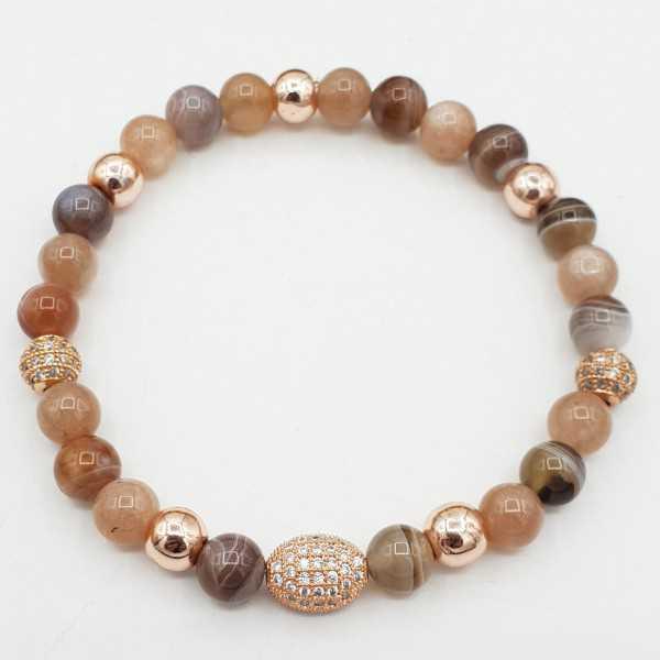Bracelet of Peach Moonstone and Botswana Agate
