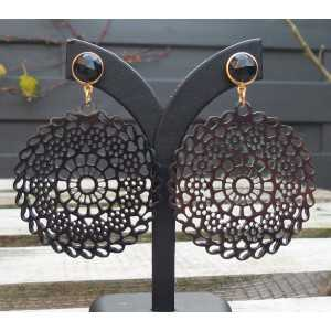 Vergoldete Ohrringe mit Runden cut-out-buffalo horn und Onyx