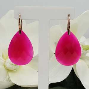 Rosé goud vergulde oorbellen met grote fuchsia roze Chalcedoon druppel