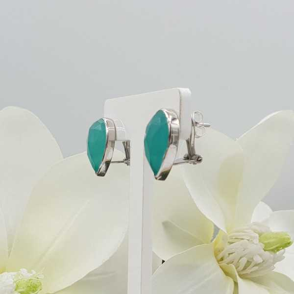 Silver oorknoppen set with aqua Chalcedony