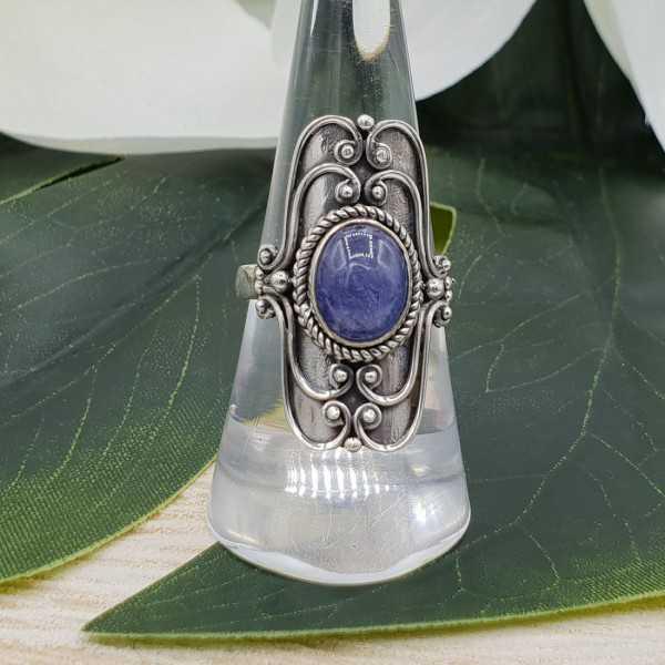 Silber ring set mit ovalen cabochon Tanzaniet