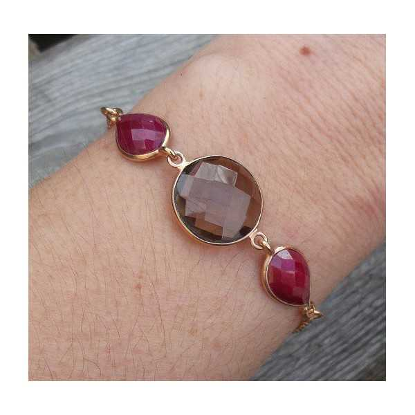 Gold plated bracelet set with round Smokey Topaz and Rubies