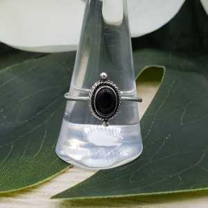 Silber ring set mit ovalen schwarzen Onyx (19 mm)