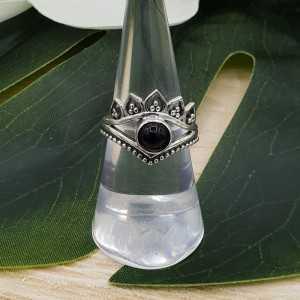 Silber ring set mit Runden cabochon Onyx schwarz 17 mm