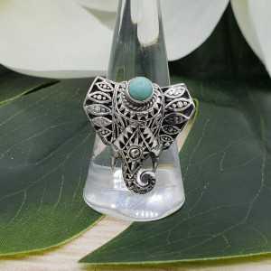 Zilveren boho olifant ring gezet met Turkoois