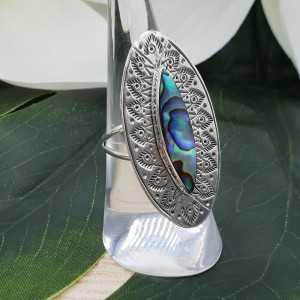 Zilveren ring gezet met marquise Abalone schelp 17 mm