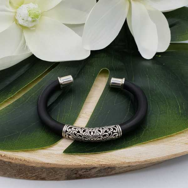 Silver bracelet bangle rubber and machined silver