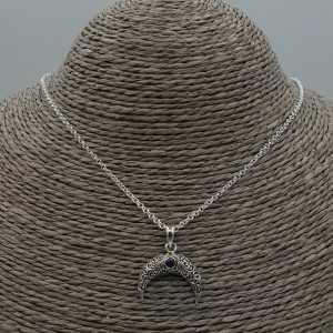 Silber Halskette mit Halbmond / horn-Anhänger-set mit Amethyst