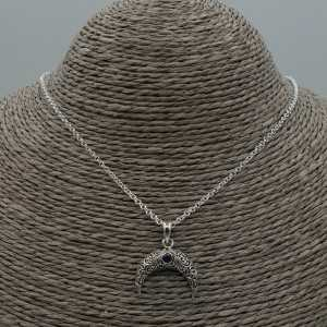 Zilveren ketting met halve maan / hoorn hanger gezet met Amethist