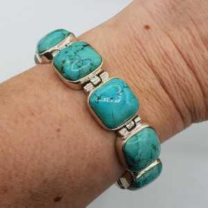 Zilveren armband gezet met vierkante Turkoois en schuifslot