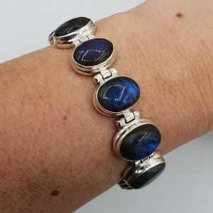Silber Armband mit ovalen cabochon cut Labradorit links