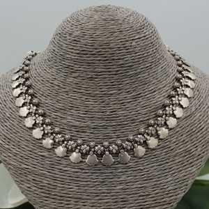 Silver boho style choker necklace