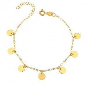 Goud vergulde armband met ronde disc hangertjes