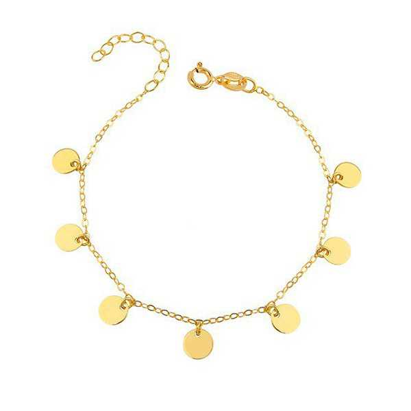 Gold plated bracelet with round disc pendants