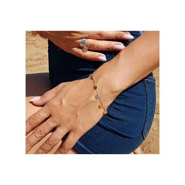Rosé goud vergulde armband met ronde disc hangertjes
