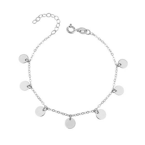 Silver bracelet with round disc pendants