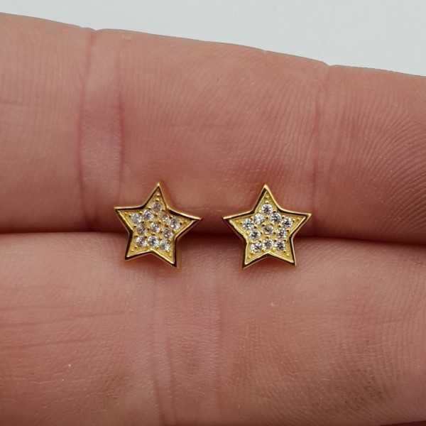 Gold plated oorknoppen star, set with Zirconia