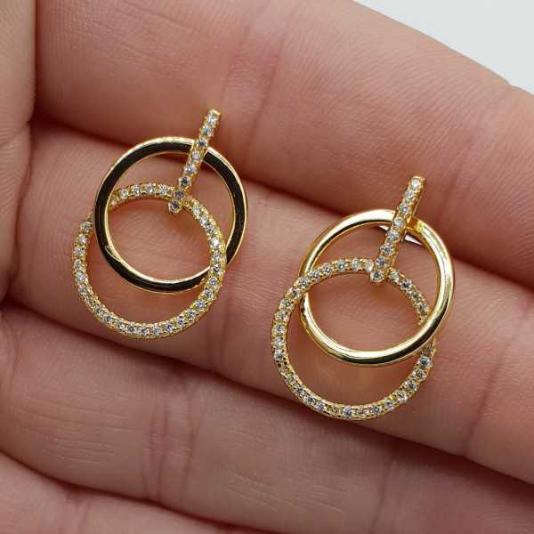 Gold plated earrings circles with Cz