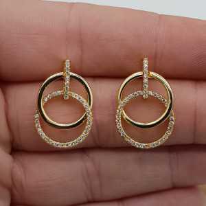 Goud vergulde oorbellen cirkels gezet met Zirkonia