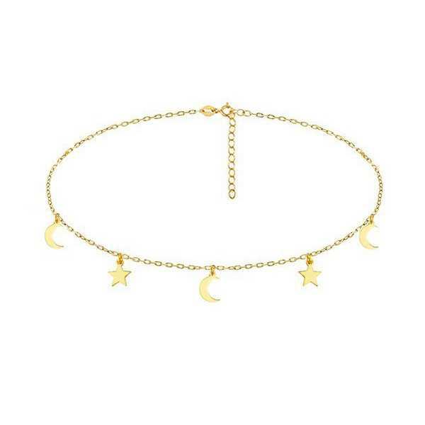 Gold plated choker-Halskette mit Sternen und Monden