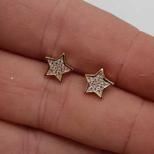 Rosé gold-plated oorknoppen star, set with Zirconia