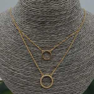 Goud vergulde dubbel layer ketting met ringen en Zirkonia