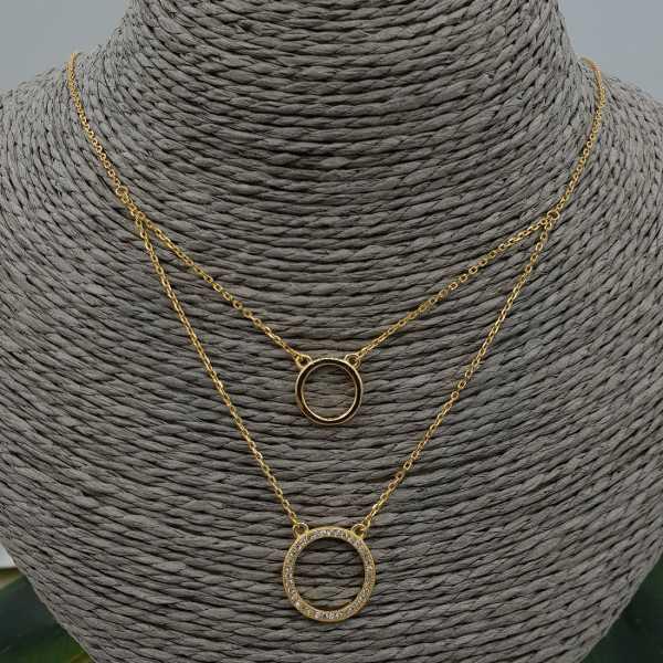 Gold plated double-layer-Halskette mit Ringen und Zirkonia