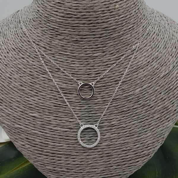 Silver double layer necklace with rings and Zirconia