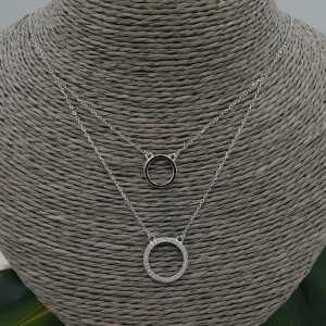 Silver-double-layer-Halskette mit Ringen und Zirkonia