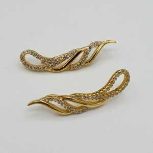 Gold plated oorklimmer set with Zirconia
