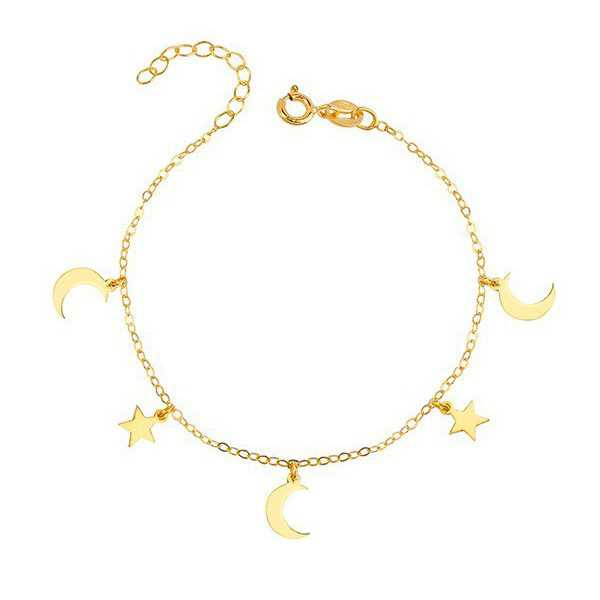 Gold plated bracelet with stars and moons