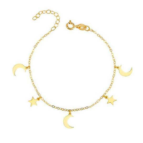 Goud vergulde armband met sterretjes en maantjes