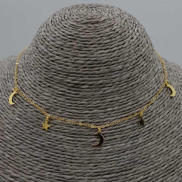 Zilveren choker ketting met sterretjes en maantjes