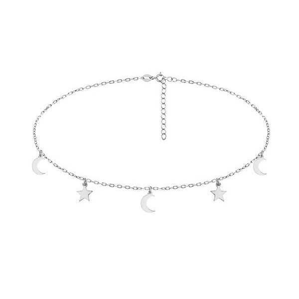 Silber choker Halskette mit Sternen und Monden