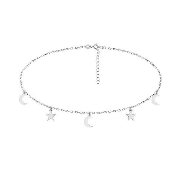 Silver choker necklace with stars and moons