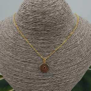 Vergoldete Halskette mit kleinen mandala-Anhänger