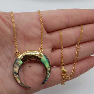 Vergoldete Halskette mit Halbmond-Anhänger-Abalone Muschel