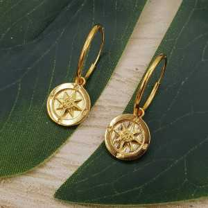 Gold-plated creoles with compass pendant