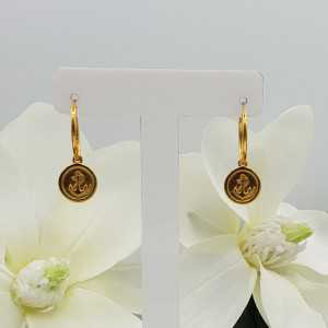 Gold-plated creoles with anchor pendant